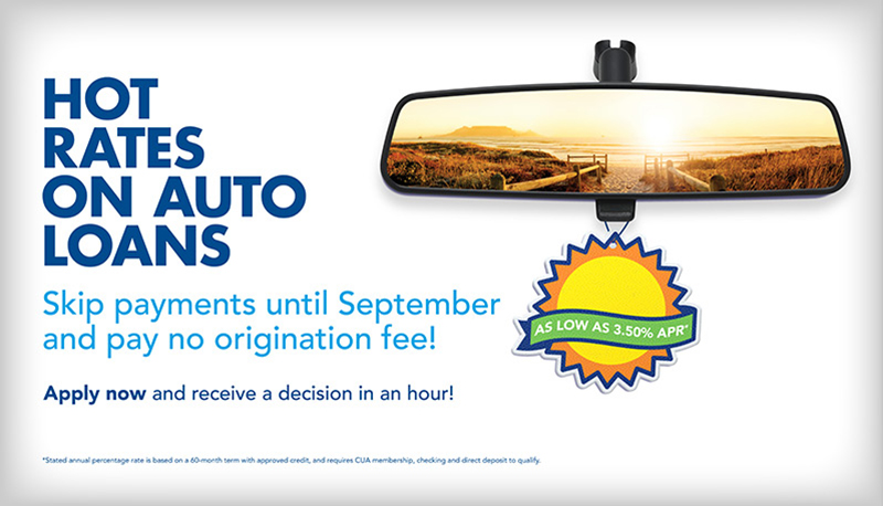 hot rates on auto loans vertical ad for summer's on us credit union campaign