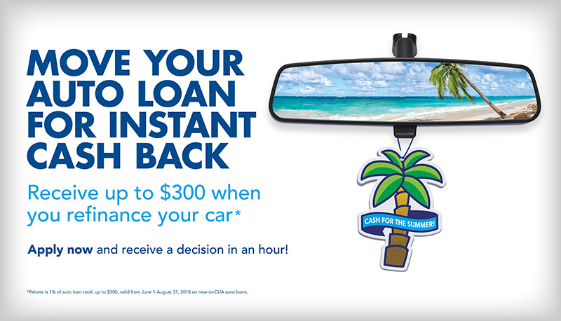 move your auto loan for cash back vertical ad for summer's on us credit union campaign