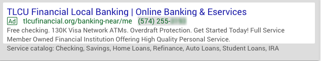 credit union google search ad for online banking