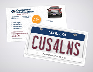 Columbus United FCU Post Card Marketing Material for auto loan