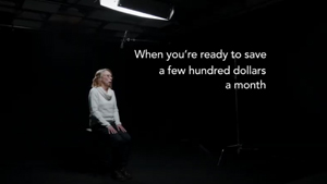 TV Commercial for credit union with black background and white text