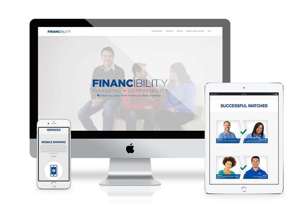 financibility campaign on mobile, desktop, and tablet