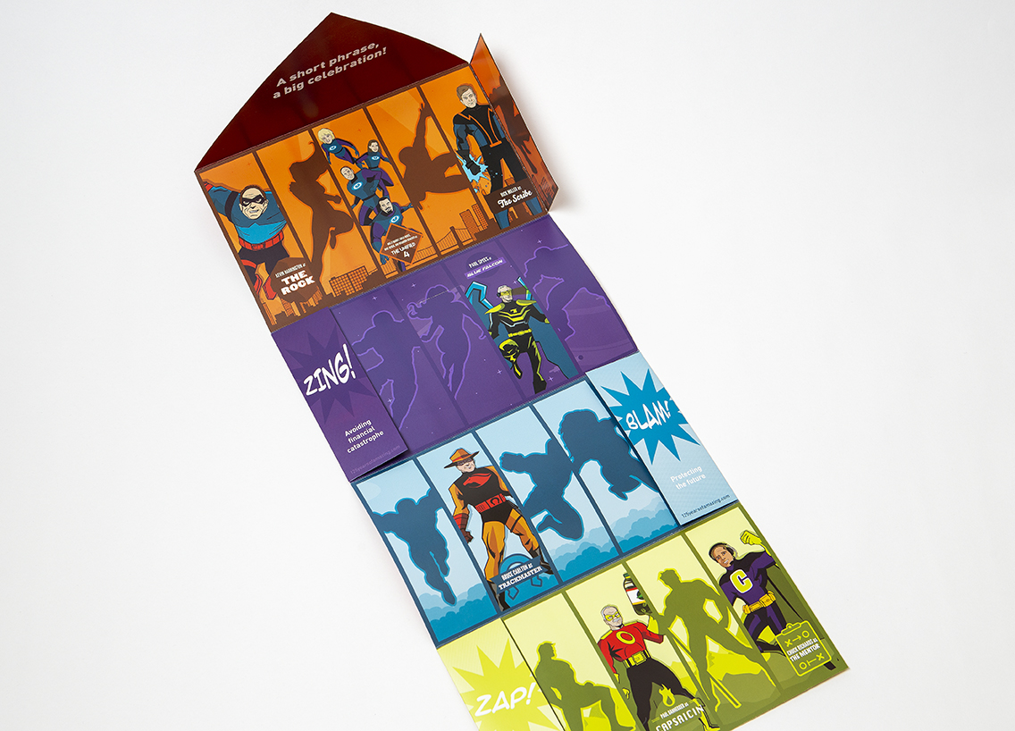 fold out superhero print piece with bright illustrations