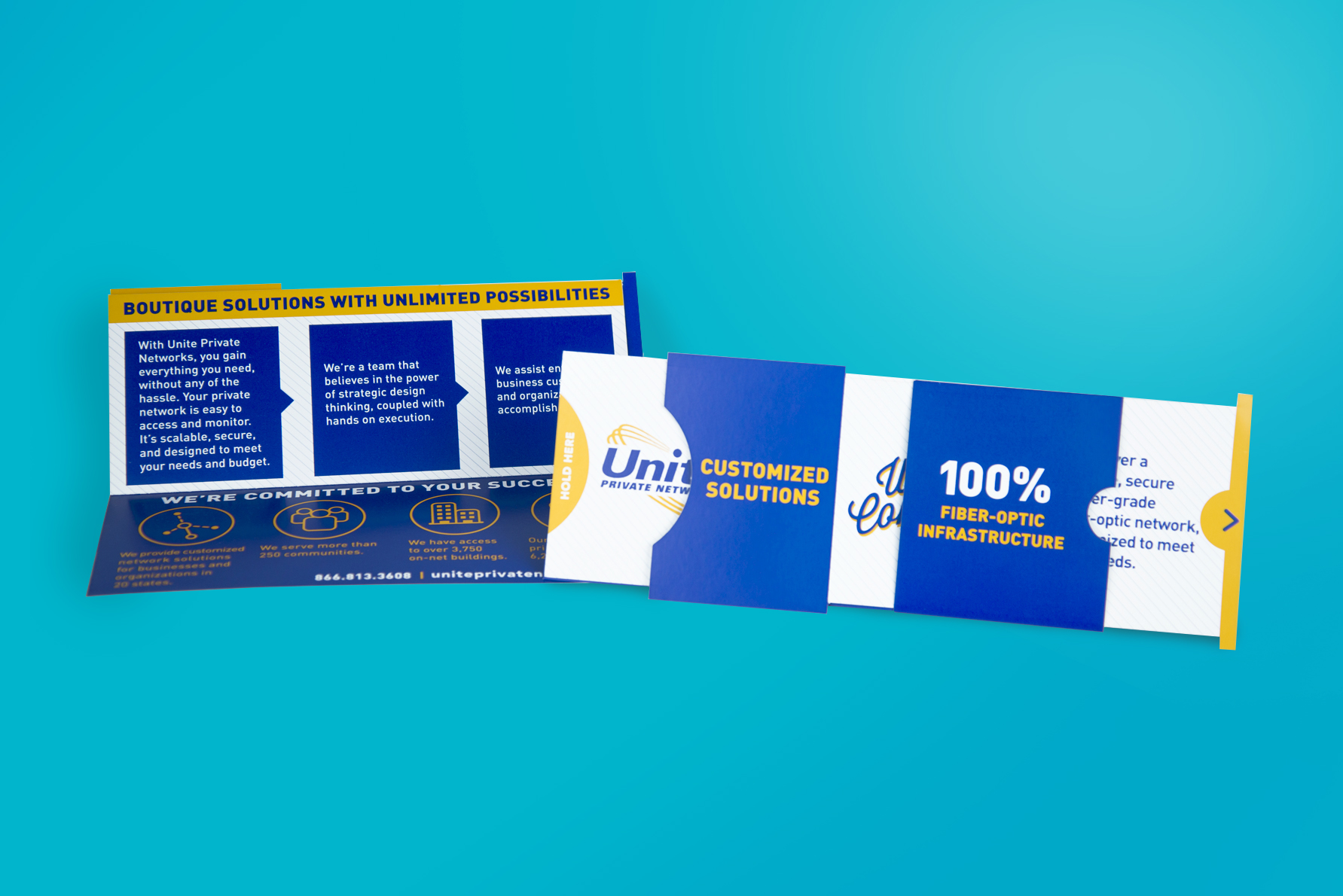 dynamic sales mailer with pull out tab and attention-grabbing graphics