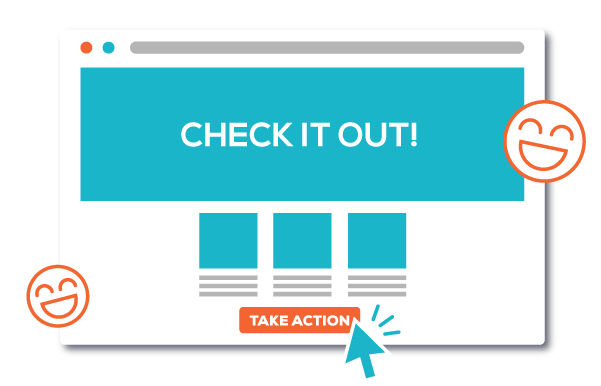 landing page illustration with cursor clicking take action button