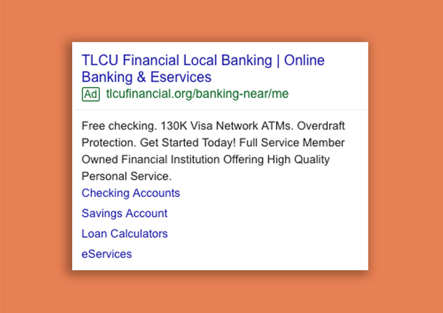 google display ad for local banking and eservices on orange background