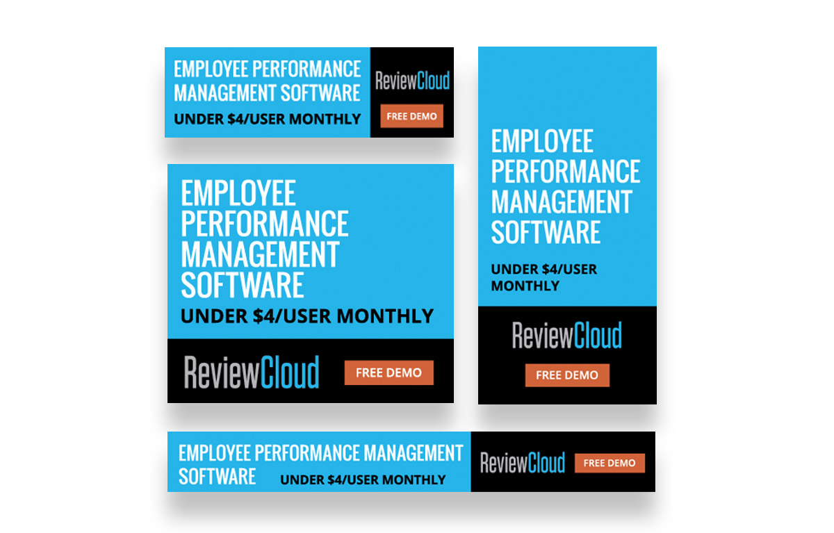 Review cloud display ads for employee performance management software